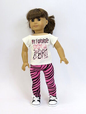 Zebra Pants Outfit Made For 18 Inch American Girl Doll Clothes 2 Piece Set