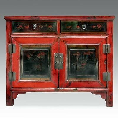 Fine Antique Chinese  Shanxi Lacquered Painted Cabinet Or Sideboard 19Th C