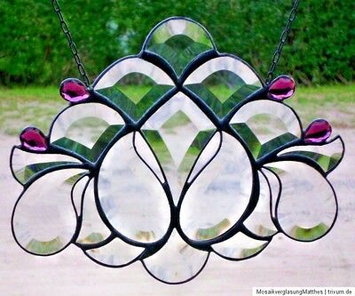 "Stained Glass Leaded Glass Faceted Window Image "" Diadem "", in Tiffany"