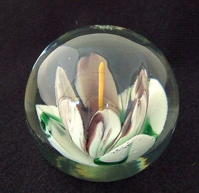 """Contemporary Art Glass Paperweight, Purple Green White Flower, Signed Rh ?, 2.5"""""""