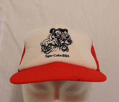 Tiger Cubs BSA Boy Scouts of America Orange S/M Truckers Ball Cap Hat Vintage