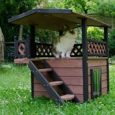 Outdoor Cat Shelter House Luxury Stairs Garden Patio Waterproof Kennel Wooden