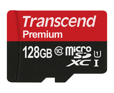 128GB Transcend Premium microSDXC CL10 UHS1 Mobile Phone Memory with Adapter