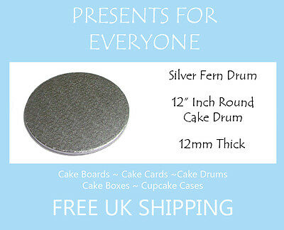 "1 x 12"" Inch Round Wedding Birthday Cake Drum / Board 12mm"