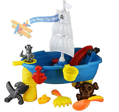 Pirate Ship Sand and Water Table Garden Sandpit Play Set Toy Sand Moulds Bucket