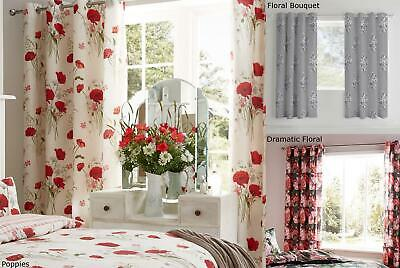 Floral Curtains Eyelet Ring Top Fully Lined Ready Made Catherine Lansfield