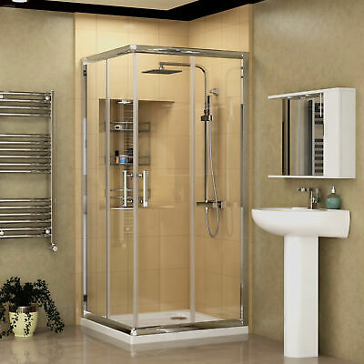 Corner Entry Walk In Shower Enclosure and Tray Sliding Glass Door Cubicle Chrome