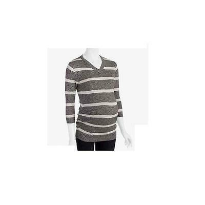 Maternity V-Neck Lightweight Stripe Sweater, Grey/White, Large Oh! Mamma