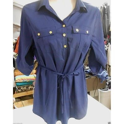 Maternity Roll Tab Sleeve Belted Collared Blouse, Navy, Large Oh! Mamma