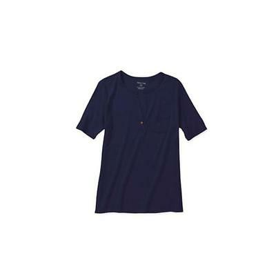 Maternity Short Sleeve Henley W/Pocket, Blue Sapphire, Large White Stag