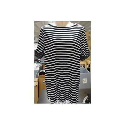 Maternity Elbow Sleeve Boat Neck Stripe Tee, Black/White, Large1 White Stag