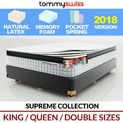 LUXURY MATTRESS King Queen & Double Pocket Spring Natural Latex with Memory Foam