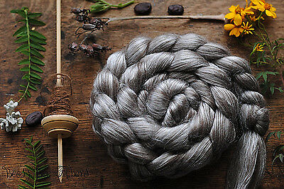 TIBETAN YAK Cultivated Mulberry Silk 50/50 Blended Top Spinning Felting 2oz