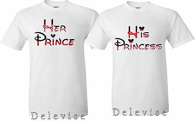 His Princess and Her Prince Couple matching funny cute T-Shirts S-4XL