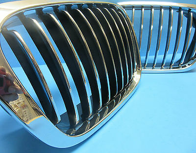 Set Left & Right Front Hood Grills Replace BMW OEM# 51138208489/90 Chrome Black