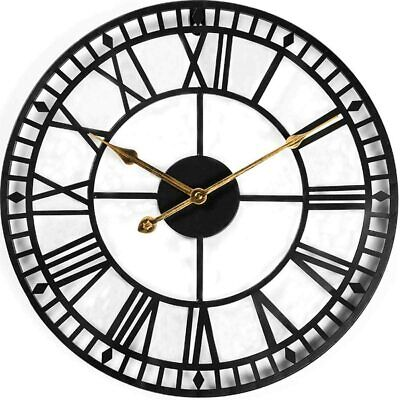 60 cm Large Metal Skeleton Wall Clock Home Cafe Bar Pub Restaurant Office Decor