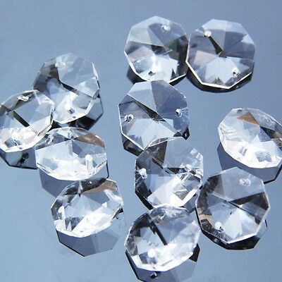 200pcs Clear Octagon Crystal Loose Beads Chandelier Lamp Part Curtain Decor 14mm