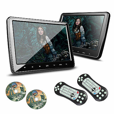 2x HDMI 10 Inch LCD In-Car Headrest Active Monitor Video DVD SD USB Player Games