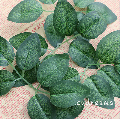 10 Springs 60 Rose Leaves Artificial Silk Green Leaf Wedding Craft Buttonhole