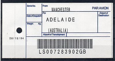 """GB = (1994) ROYAL MAIL `Bag Tag` """"MANCHESTER to ADELAIDE"""". Unusual. (01.16)"""