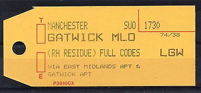 """GB = (1994) ROYAL MAIL `Bag Tag` """"MANCHESTER to GATWICK"""". Unusual. (01.16)"""