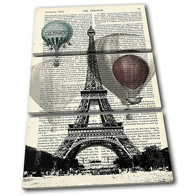 Paris Shabby Chic Landmarks TREBLE CANVAS WALL ART Picture Print