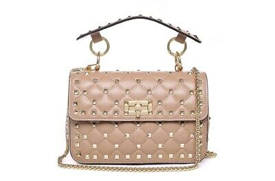 Leather Quilted Stud Flip Bag with Chain Top Handle Crossbody Handbag