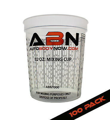 ABN Clear Plastic Paint Mixing Cup 100-Pack 32oz Ounce / 946mL Milliliter