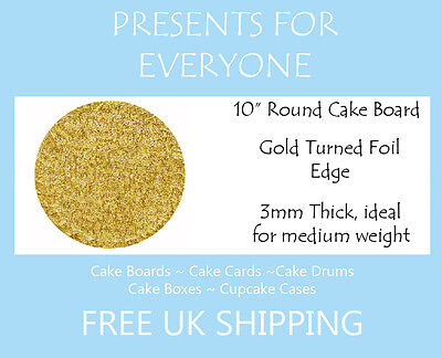 """25 x 10"""" Inch Round Gold Cake Board 3mm FREE SHIPPING"""