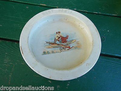 Antique 1920's Wellsville Pottery Ohio Wc Co Baby Plate Airplane Moon Litho Boy