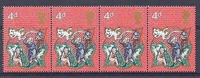 GB = 1970 Christmas 4d. `Embossing Omitted` Strip/4. SG838Ea. MNH. Scarce.