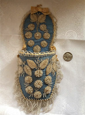 100 yr old Iroquois Whimsey Early 1900s Antique Blue &White Silk Shoe Match Safe
