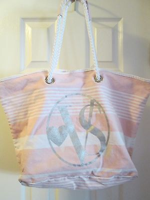 Victoria's Secret Pink White Stripe Tote Canvas Beach Getaway Bag Rope Handles