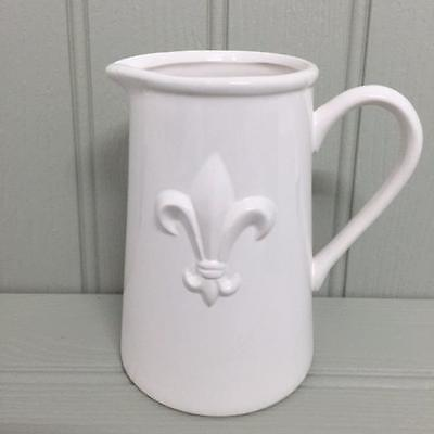 New Large WHITE FLEUR DE LYS CERAMIC JUG Country Kitchen Home Gift 16.5cm High