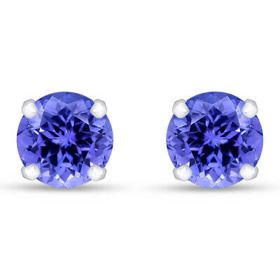 14k White Gold Stud Earrings Solid 1.00 Ct Round Cut Tanzanite 5mm