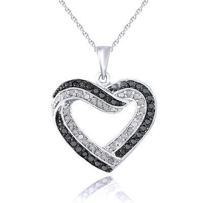 Open Heart Necklace 0.50 Ct TDW Black & White Diamond in Sterling Silver