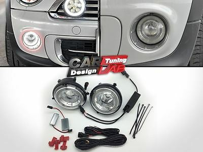 Direct Fit Mini Cooper Halo LED Daytime Running Lights Fog Lamps Assembly Kit