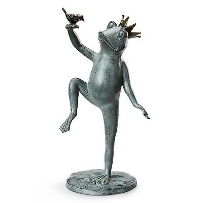 "Royal Dance Crowned Prince Frog & Bird Metal Garden Sculpture Statue Large 22""H"