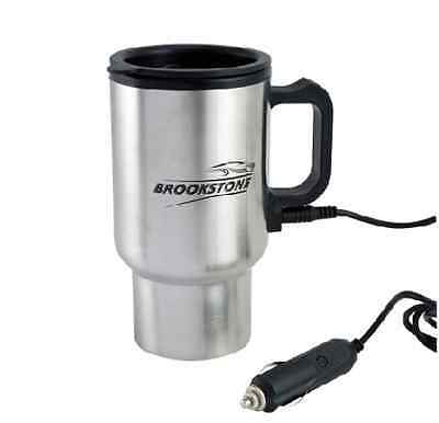 TRAVEL MUG FLASK WITH CAR CHARGER 12v BROOKSTONE STAINLESS STEEL HEATED AUTO