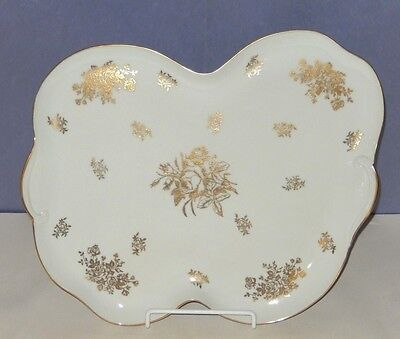 "Extremely Rare Antique Limoges France Gold Roses 17"" Asymmetrical Platter / Tray"