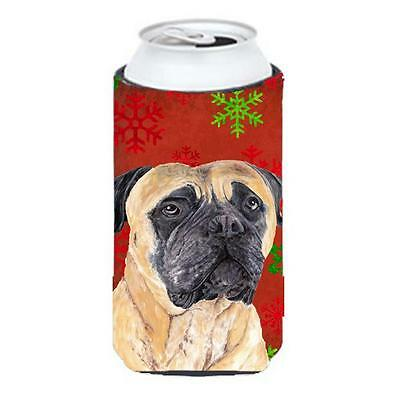Mastiff Red and Green Snowflakes Holiday Christmas Tall Boy Hugger