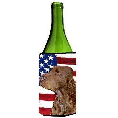 Usa American Flag With Field Spaniel Wine Bottle Hugger 24 oz.