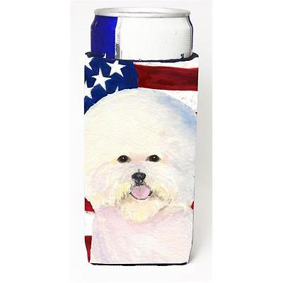 Usa American Flag With Bichon Frise Michelob Ultra s For Slim Cans 12 oz.