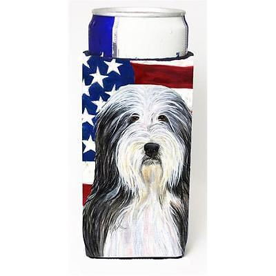 Usa American Flag With Bearded Collie Michelob Ultra s For Slim Cans 12 oz.