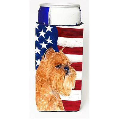 Usa American Flag With Brussels Griffon Michelob Ultra s For Slim Cans 12 oz.