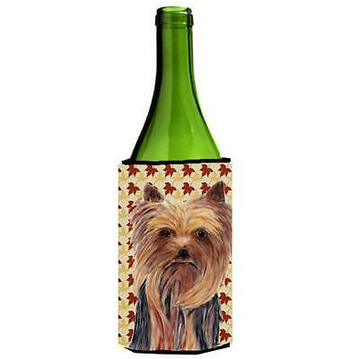 Carolines Treasures Yorkie Fall Leaves Portrait Wine Bottle Hugger 24 oz.