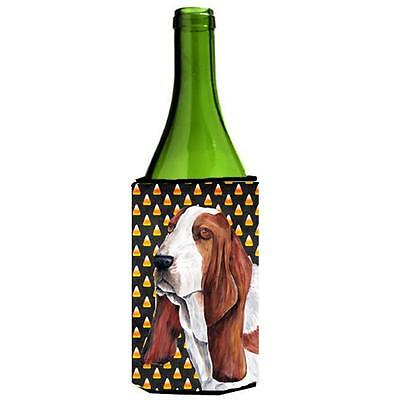 Carolines Treasures Basset Hound Candy Corn Halloween Wine Bottle Hugger 24 oz.