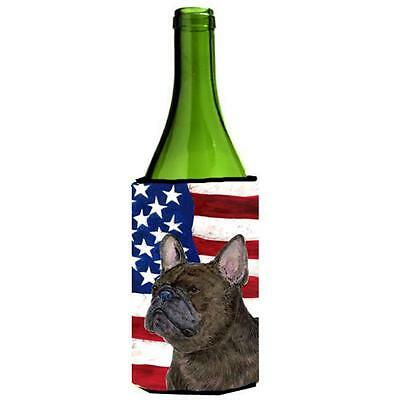 Usa American Flag With French Bulldog Wine Bottle Hugger 24 oz.