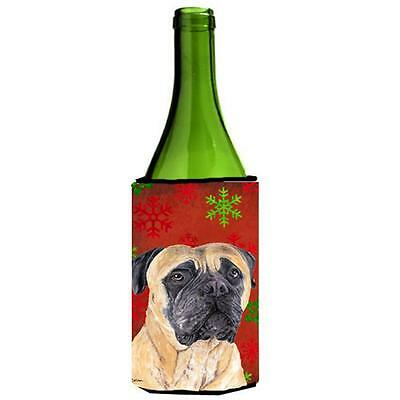 Mastiff Red and Green Snowflakes Holiday Christmas Wine Bottle Hugger
