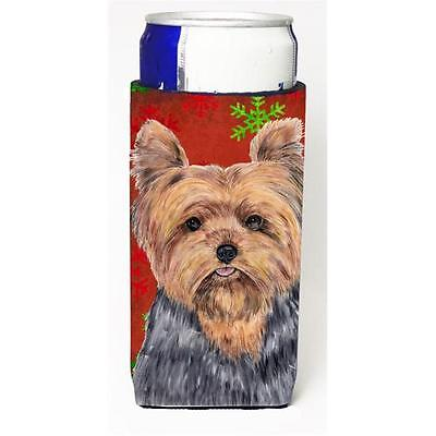 Yorkie Red & Green Snowflakes Holiday Christmas Michelob Ultra s For Slim Can...